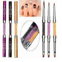 Nail Art UV Gel Rhinestone Handle Double-headed Acrylic Brush Pen DIYX1 New UK