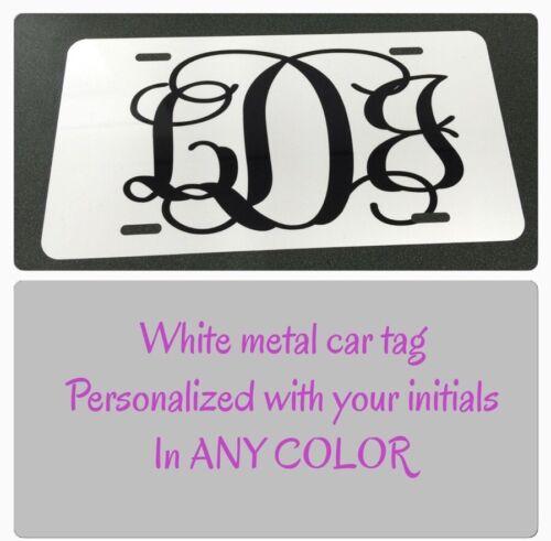 Monogram License Plate White Tag Black Letters New Monogram Car Tag