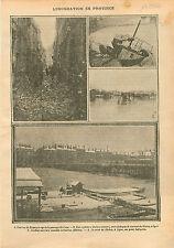 Météo Inondation Crue de Besançon /Bateau Lavoir Rhône/Oullins 1910 ILLUSTRATION