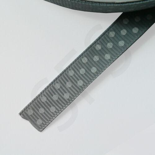 various colours 2 Metre cuts x 10mm wide Grosgrain spotty//dotty//polka dot Ribbon
