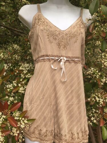 New/_Spaghetti Strap Embroidered Boho Tunic Smocked Wheat Top/_Free Size/_Gorgeous!