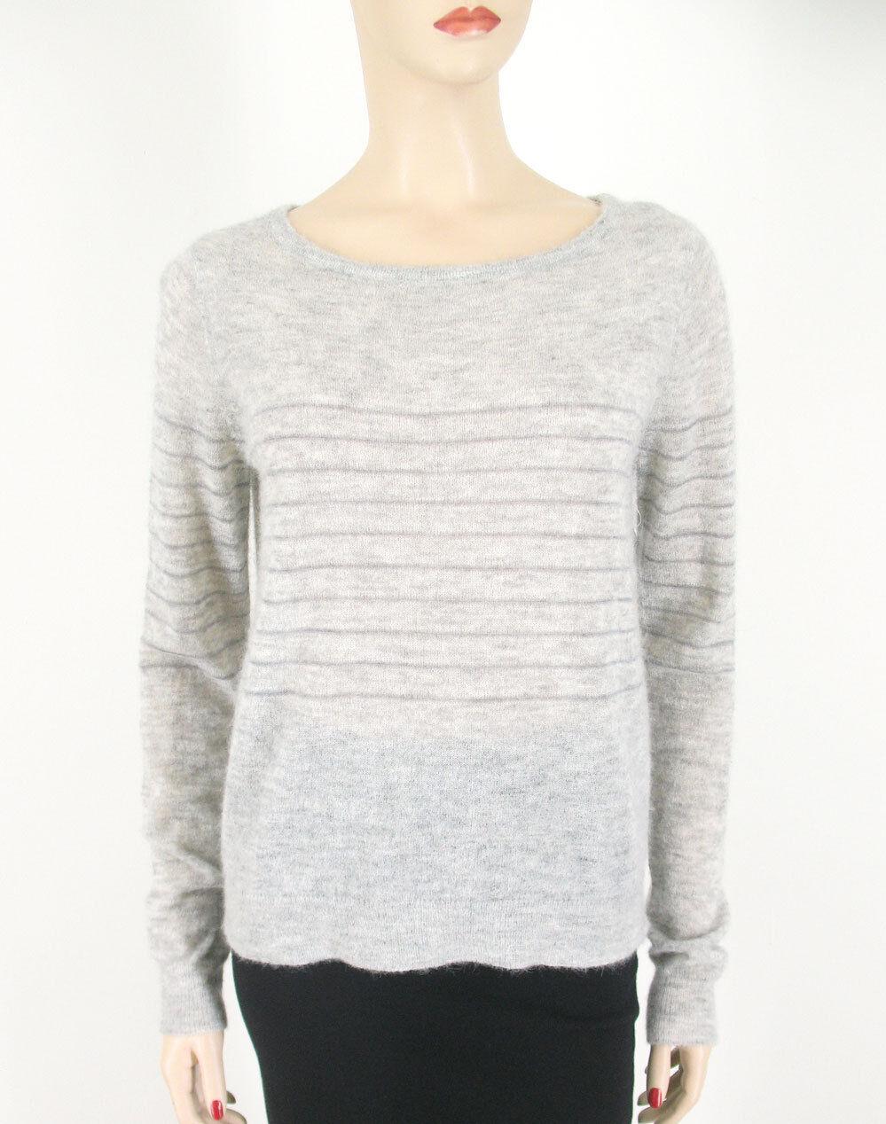 Paige Denim Nikita Sweater Striped Striped Striped Heather Grey Baby Alpaca Wool M  219 9125 1162bc