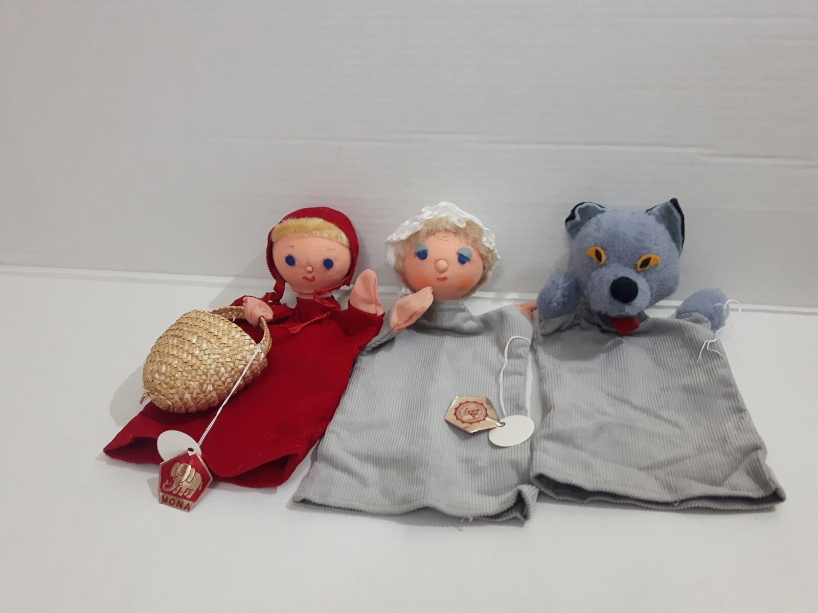 LOT VINTAGE HAND MADE PUPPETS MONA CZECH LITTLE rosso RIDING HOOD BAD WOLF GRANNY