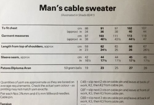 Patons Aran Knitting Pattern For Men/'s Sweater Jumper Size 34//44/""