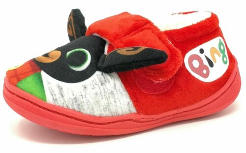 Childrens Kids Girls Boys Bing Red Booties Character Mules Slippers Size 9