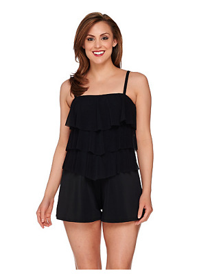 Fit 4 U~Bandeau V-Tiered Mesh Romper Swimsuit~A273953~Choice of Colors /& Sizes