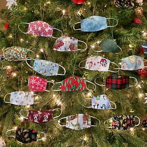 Mini Face Mask Christmas Tree Pandemic Ornament  w// 2020 Charm Pick Your Design