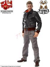 Wild Toys 1/6 A2_ Black Jacket + Gray Chino Set _Leather-like A-2 Fashion WT018B