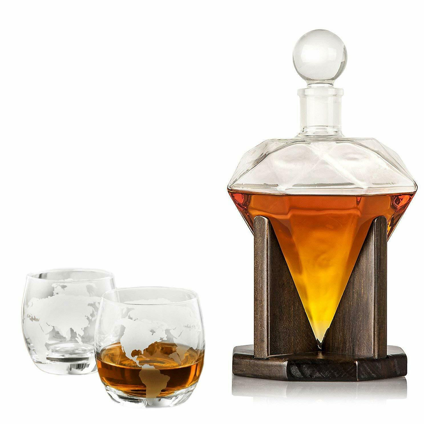 40 Oz 'Diamond' Handmade Whisky Decanter Set with wooden stand + Globe Glasses