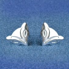 Shiny 925 Sterling Silver Plated Cute Little Small Fox Head Stud Earrings Gift