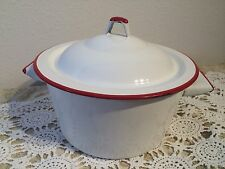 Vintage Shabby Chic White Red Round Enamelware 1 Gal Cooking Pot and Lid Pan 9""