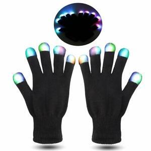 LED Flashing Gloves Glow 3 Mode Light Up Finger Tip Lighting Pair Rave Party NEW