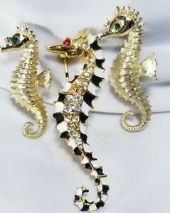 Vintage Style Diamante Seahorse Antique Gold Crystal Pearl BROOCH Pin Broach