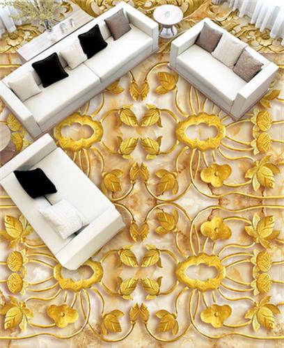 3D Golden Pattern 434 Floor WallPaper Murals Wallpaper Mural Print AJ AU Lemon
