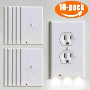 10X-Wall-Outlet-Plug-Coverplate-w-LED-Night-Light-Sensor-Auto-ON-OFF-Socket