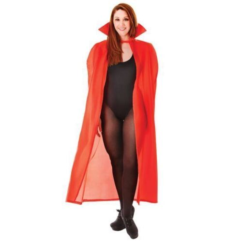 ADULT RED CAPE CLOAK INCLUDES DEVIL HORNS AND TRIDENT HALLOWEEN FANCY DRESS
