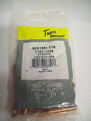 - 25 Per Pack - Tweco WELDSKILL WS15H-116 CONTACT TIP 1150-1234 1//16
