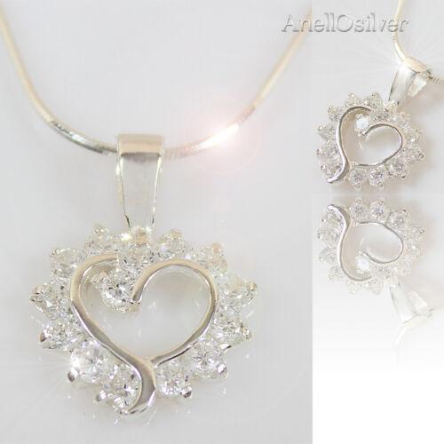 Silber SchmuckSet Herz Anhänger mit Kette 42,45,50 cm Kleinen Zirkone Geschenk