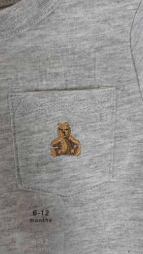 Baby Gap Long Sleeve Bodysuit One Piece 6-12 Mo Embroidered Bear On Pocket Snaps
