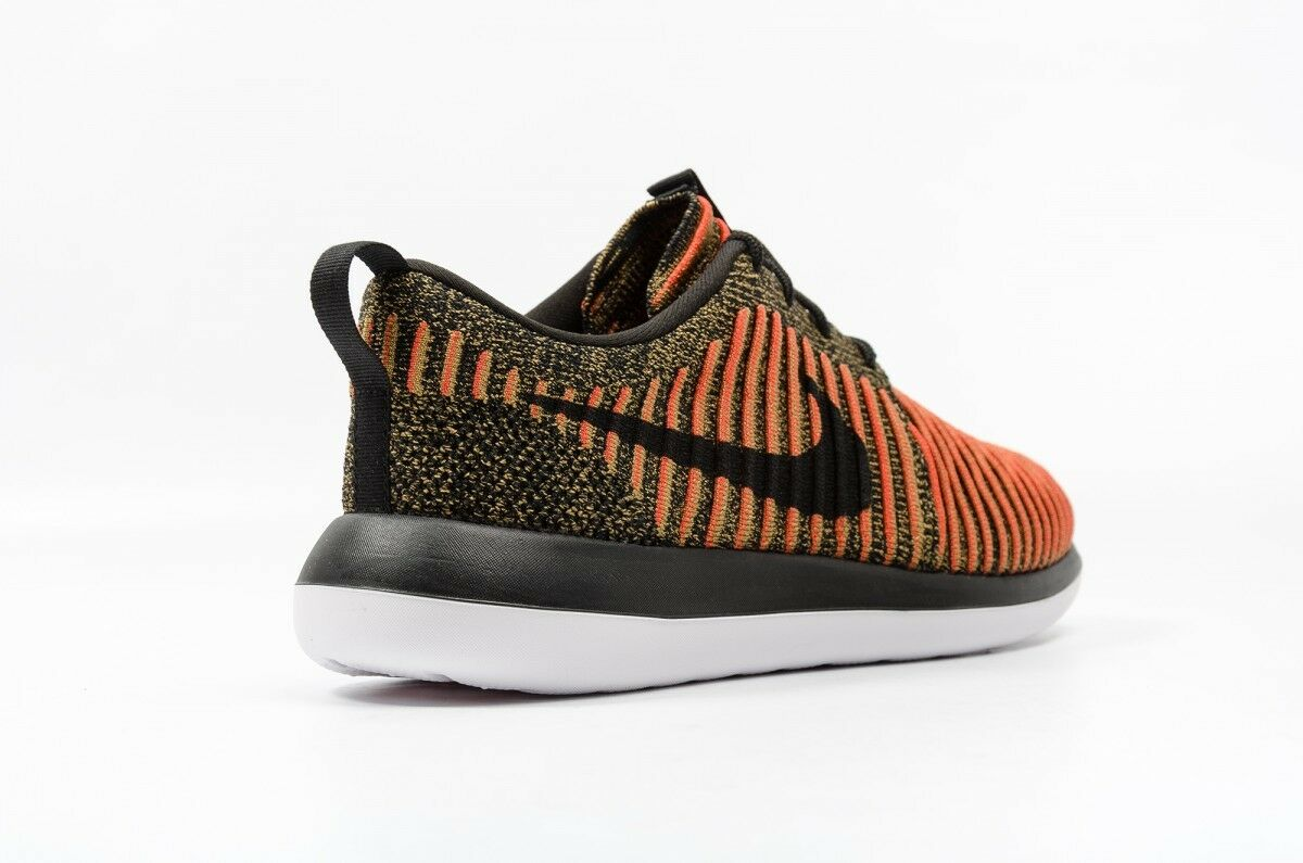 NIKE ROSHE TWO FLYKNIT Running Orange Trainers Gym Casual Black Orange Running - Various Sizes 1f034c