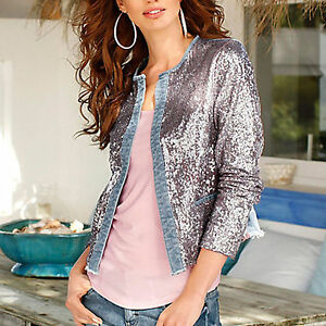 chic elegant stretch jeansjacke pailletten jacke s m blau gold rosa ebay. Black Bedroom Furniture Sets. Home Design Ideas