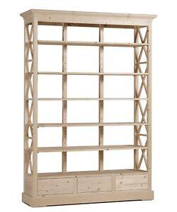 Grande libreria in legno Abete non smontabile al grezzo cm 140x40 h ...