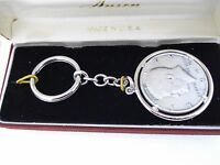Key Ring - Anson Coin Holder Frame With 50 Cent Half Dollar 1972 To 1980 Kennedy