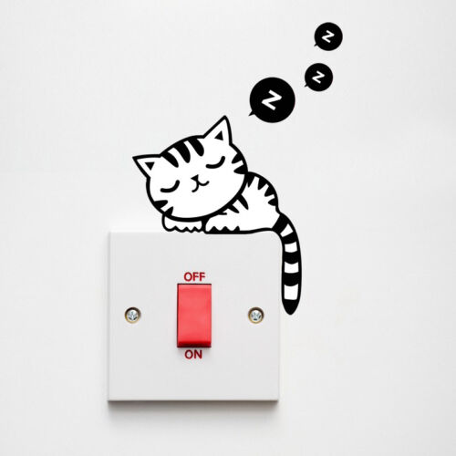 DIY Funny Cat Black Switch Decal Wall Sticker Kids Room Bedroom Decoration