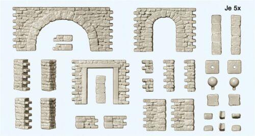 Preiser 18217 Spur H0 Bruchsteinmauer mit Toröffnungen