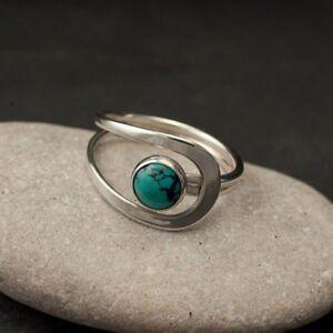 Fashion-925-Silver-Turquoise-Gemstone-Ring-Wedding-Bridal-Women-Jewelry-Sz6-10