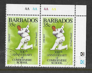 BARBADOS-1995-350th-Anniv-COMBERMERE-SIR-FRANK-WORRELL-CRICKET-Plate-Pair-USED