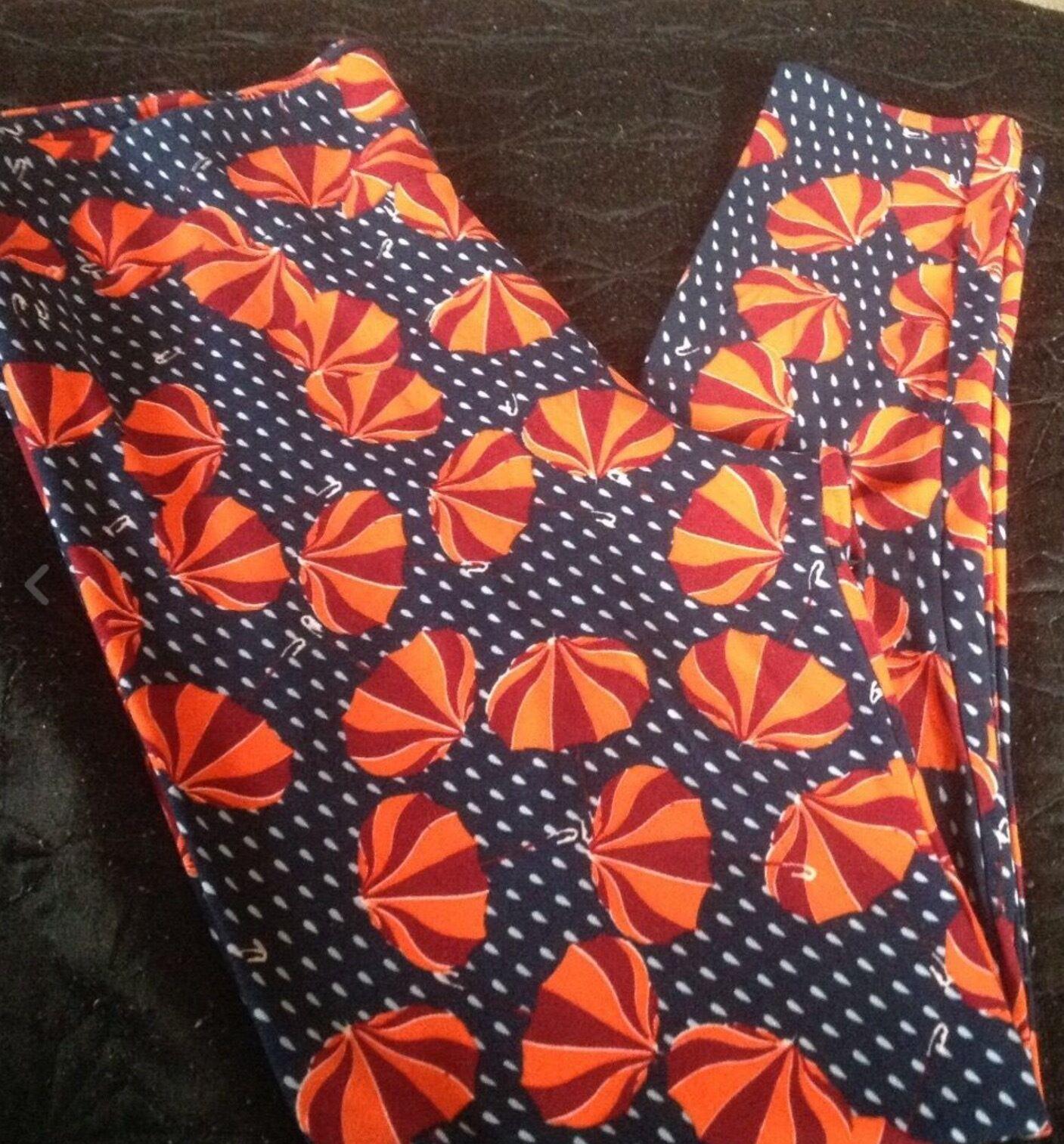 New LuLaRoe TC orange & Red Umbrella Umbrellas Raindrops Rain Navy Leggings
