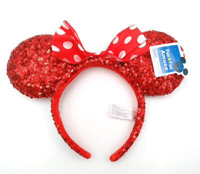Disney Parks Mickey 2018 Festival Red Bow Sequins Minnie Mouse Ears Cos Headband