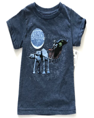 NWT Infant Boys Star Wars Blue T Shirt Size 18 Mo Christmas Darth At-At Sleigh