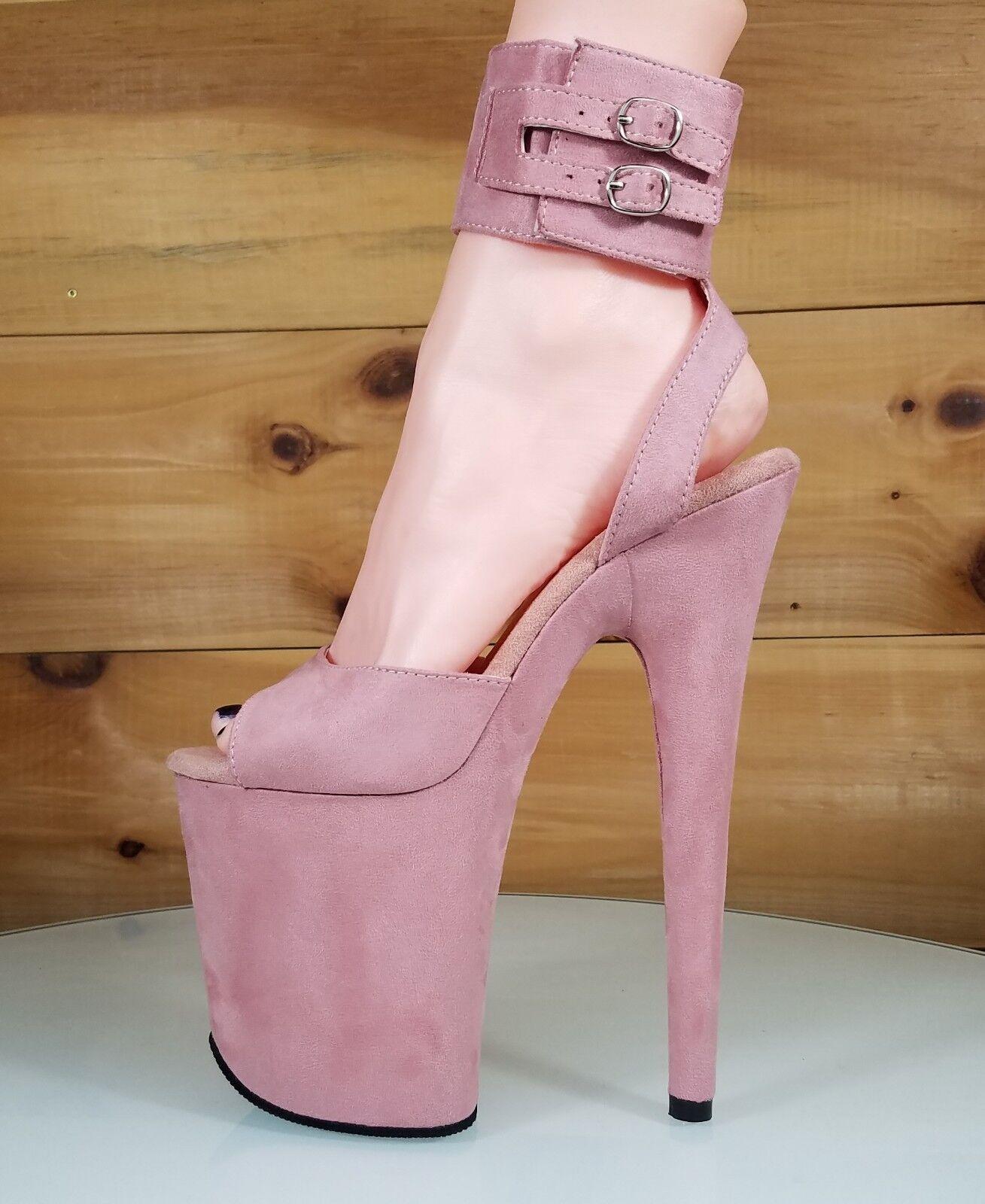 Flamingo 891 891 891 Pink Vegan Suede 8  High Heel Platform shoes Wide Ankle Cuff 6-11 ef8bd2