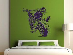 Details zu Wandtattoo für Jungs Aufkleber Wandaufkleber für Wohnzimmer  Motorrad cool