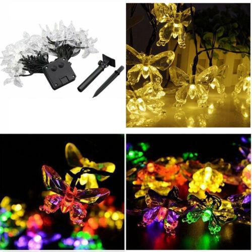 50 LED Hot Solar Powered Butterfly String Lights For Garden Outdoor Summer Lamp