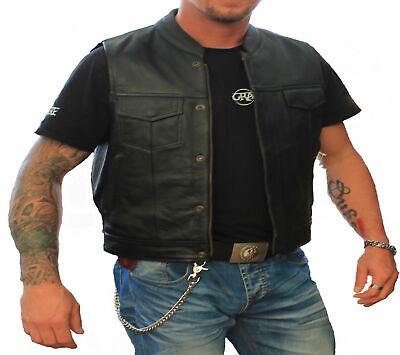 Schwarze Herren Leder Cruiser Biker Weste //Weste für Motorrad