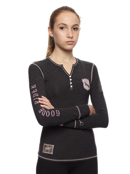 Goode Goode Goode Rider Girls Goode Henley Shirt-Charcoal Heather-12 b40cf9