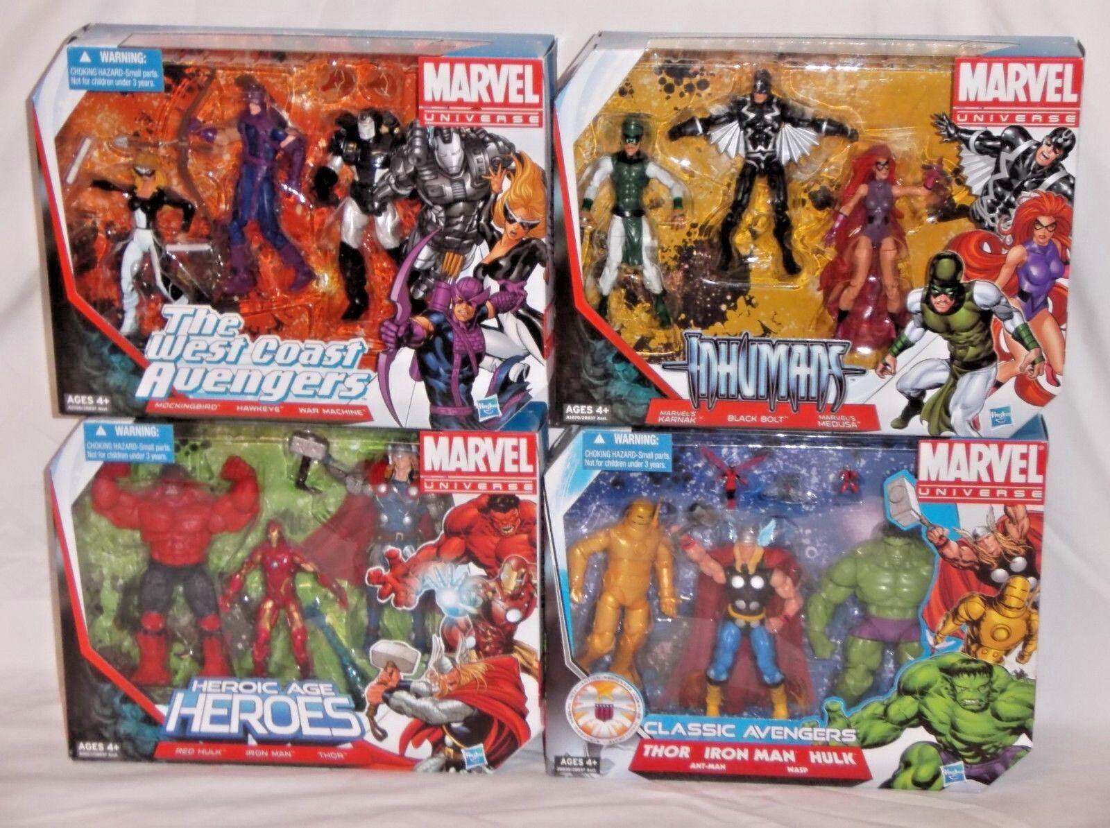 Lote De Marvel Universe Multi-Pack de 4 clásicos los Vengadores Costa Oeste inhumanos figura Set