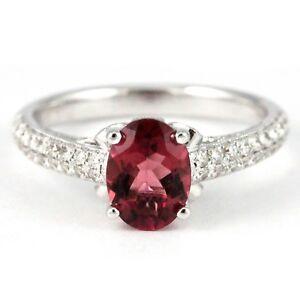 14k White Gold Pink Tourmaline/Diamond Engagement Ring, 1.03(NEW w/appraisal)830