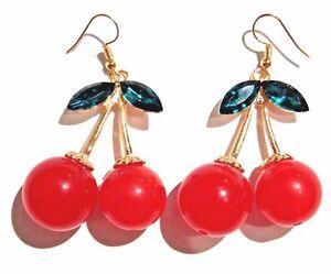 Red Cherry Fruit Ear Stud Enamelled Retro Fashion Charm Earrings Gift