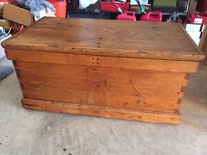 Details About Antique Medium Oak Chest Trunk Bench Coffee Table