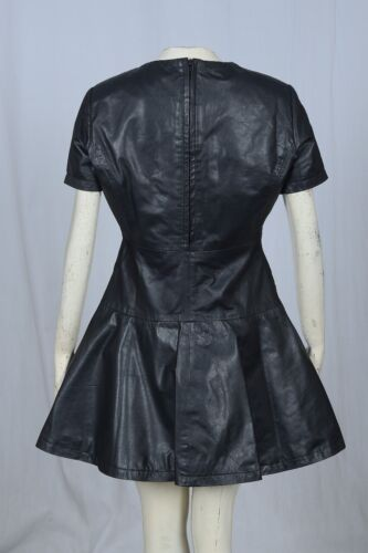NEW BLACK REAL GENUINE LEATHER LADIES WOMAN PARTY SKATER CASUAL DRESS SIZE 6-22