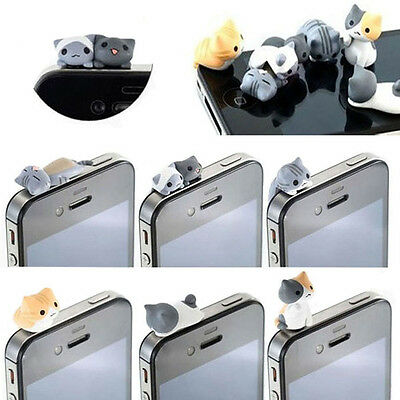 6pcs Cheese Cat 3.5mm Anti Dust Earphone Jack Plug Cap For iphone HTC Wholesale