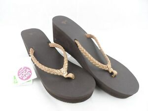 9d02a90ad9e8 Sanuk Yoga Mat Braided Wedge Gray Flip Flops Sandals Womens 11 NWT ...