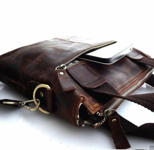 Genuine full Leather Bag Messenger vintage classic Shoulder cool Style new brown