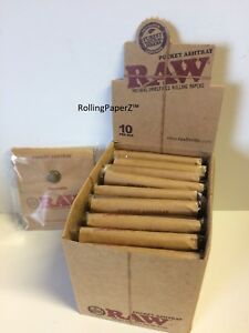 LOT-OF-10-RAW-Cigarette-Rolling-Papers-Brand-Pocket-Ashtray-in-DISPLAY-BOX-new