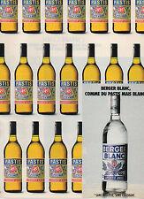 Publicité Advertising 1989  PASTIS   BERGER BLANC  boisson apéritif anisé ...