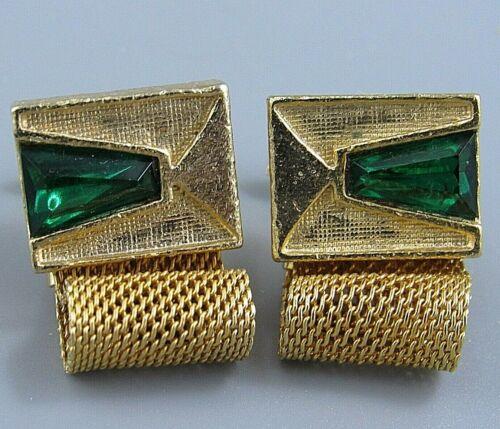 Emerald Green Glass Dome Cufflinks Gold Tone Toggle Clasp Mid Century Vintage Cufflinks